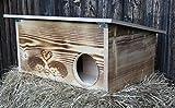 Geflammtes Premium Igelhaus 62cm x 40cm x 29cm Igelhotel 20mm Vollholz Winterfest...