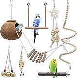 Yue Vogel Papagei Spielzeuge 7 Stück, Kokosnuss Vögel Käfig mit Leiter, Hängend...
